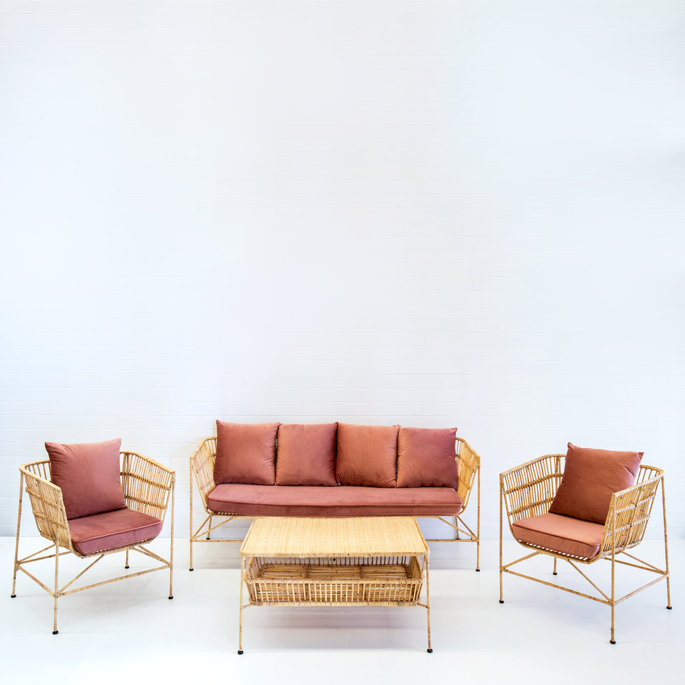 Indie natural sofa package with dusty pink velvet cushions