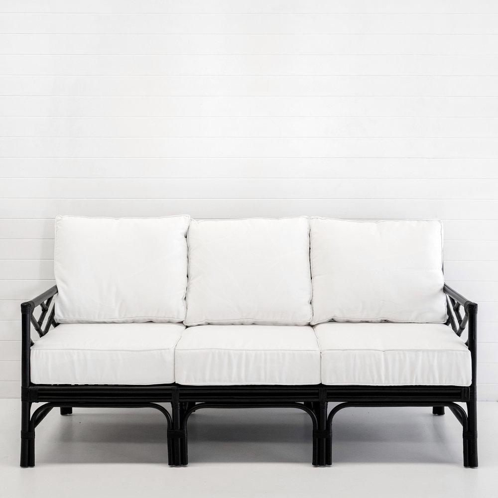 Hamptons black 3-seater sofa with white cushions