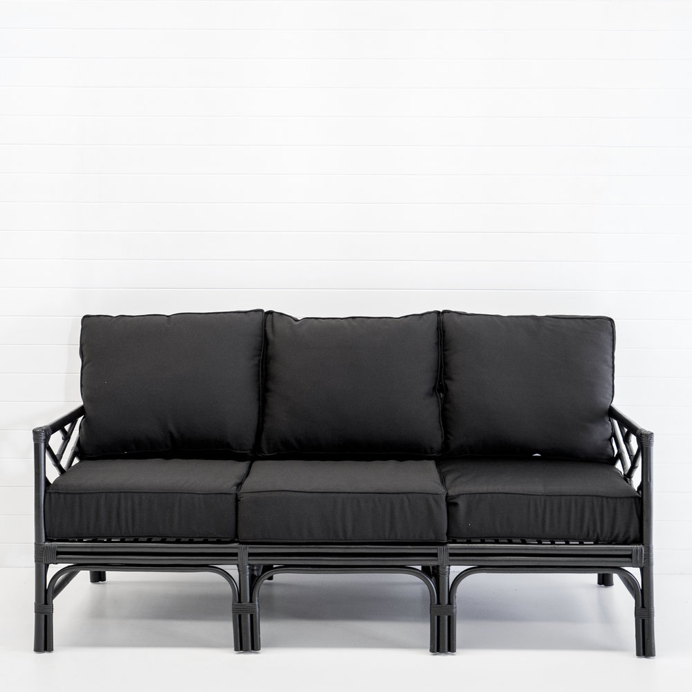 Hamptons black 3-seater sofa with black cushions
