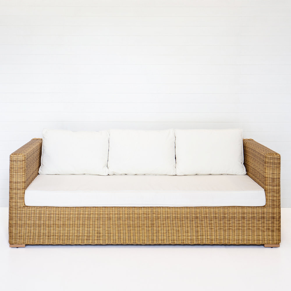 DUNE THREE SEATER SOFA (WITH ARMS) WITH WHITE CUSHIONS  *Also available in black