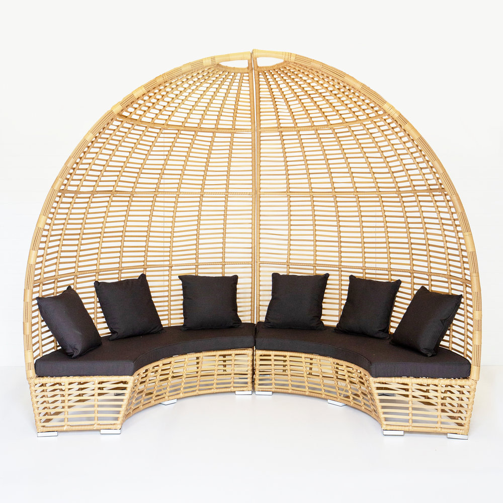 DUNE GAZEBO WITH BLACK CUSHIONS  *Also available in white  *This picture features two gazebos pushed together*