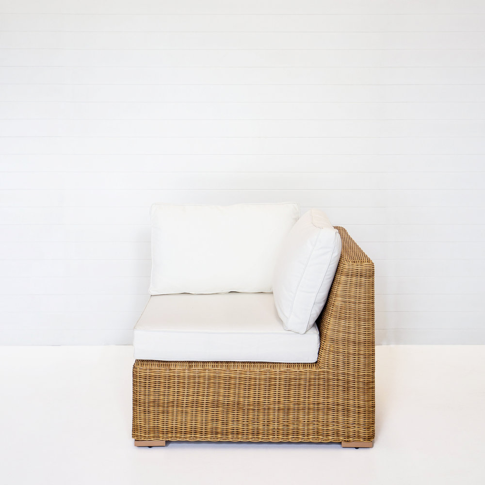 DUNE CORNER MODULAR (NO ARMS) WITH WHITE CUSHIONS  *Also available in black