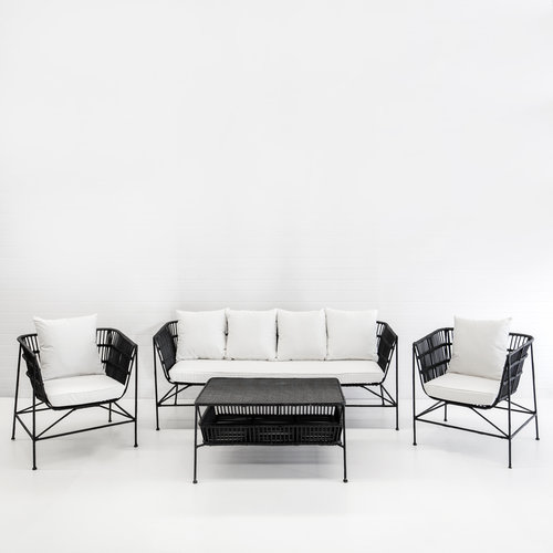 INDIE BLACK SOFA PACKAGE (WITH WHITE CUSHIONS)