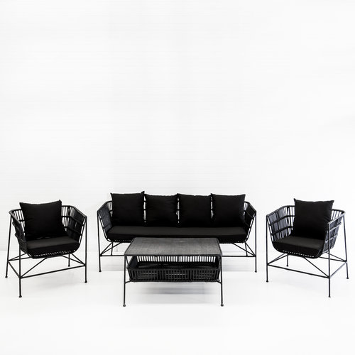 INDIE BLACK SOFA PACKAGE (WITH BLACK CUSHIONS)