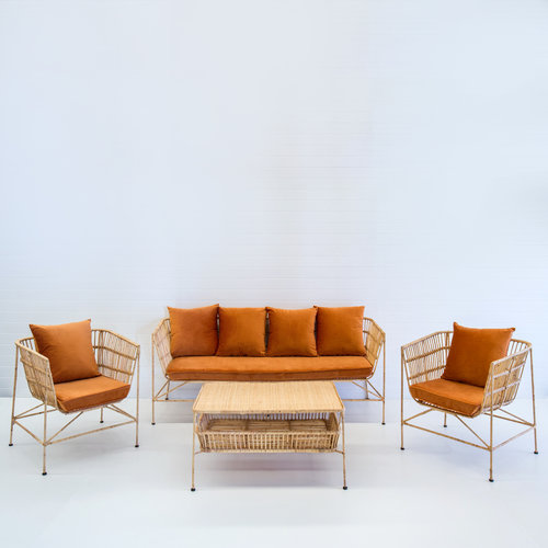 INDIE NATURAL SOFA PACKAGE (WITH RUST VELVET CUSHIONS)
