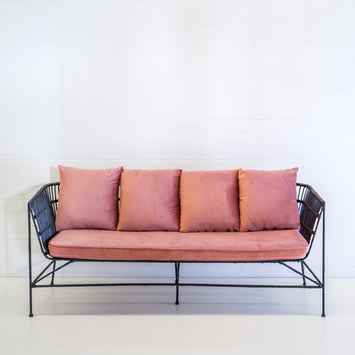 INDIE BLACK 3-SEATER SOFA WITH DUSTY PINK CUSHIONS