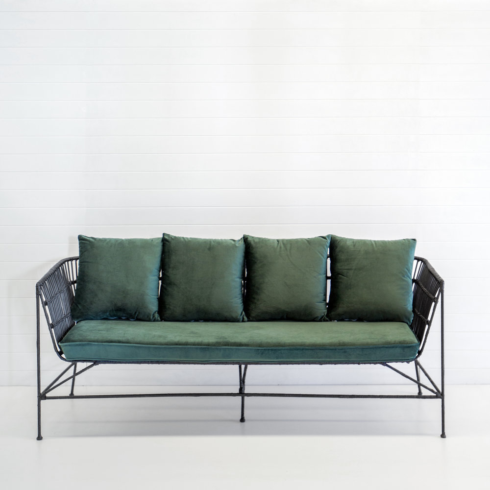 INDIE BLACK 3-SEATER SOFA WITH EMERALD VELVET CUSHIONS  *Also available with black, white, rust velvet, and dusty pink velvet cushions