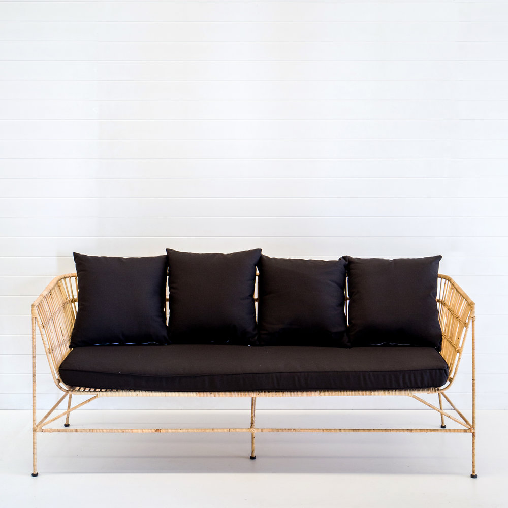 INDIE NATURAL 3-SEATER SOFA WITH BLACK CUSHIONS  *Also available in white, emerald velvet, rust velvet and dusty pink velvet cushions
