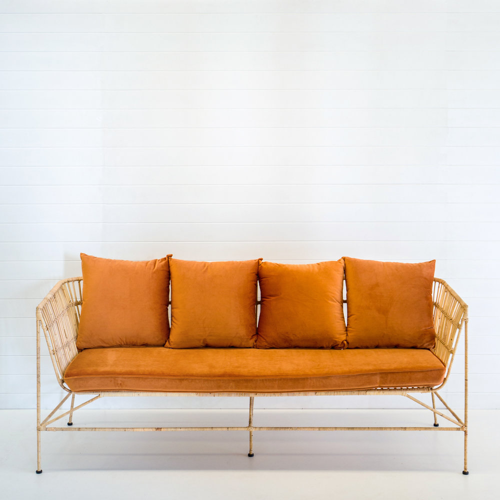 INDIE NATURAL 3-SEATER SOFA WITH RUST VELVET CUSHIONS  *Also available in black, white, emerald velvet and dusty pink velvet cushions