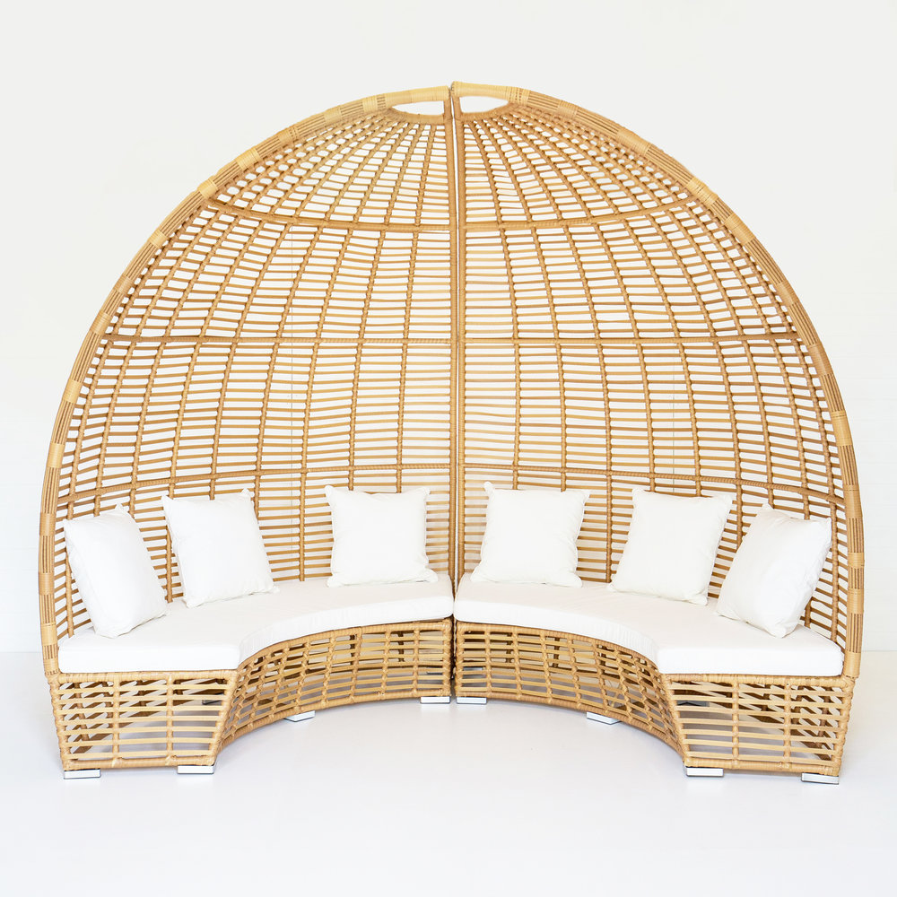 DUNE GAZEBO WITH WHITE CUSHIONS  *Also available in black  *This picture features two gazebos pushed together*