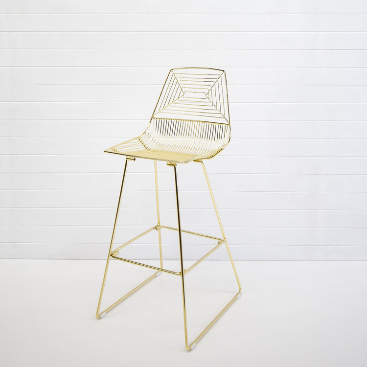 GOLD SOHO WIRE STOOL