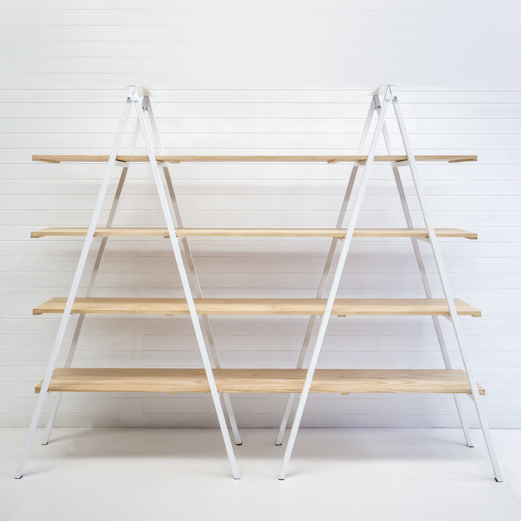 WHITE A-FRAME SHELVING