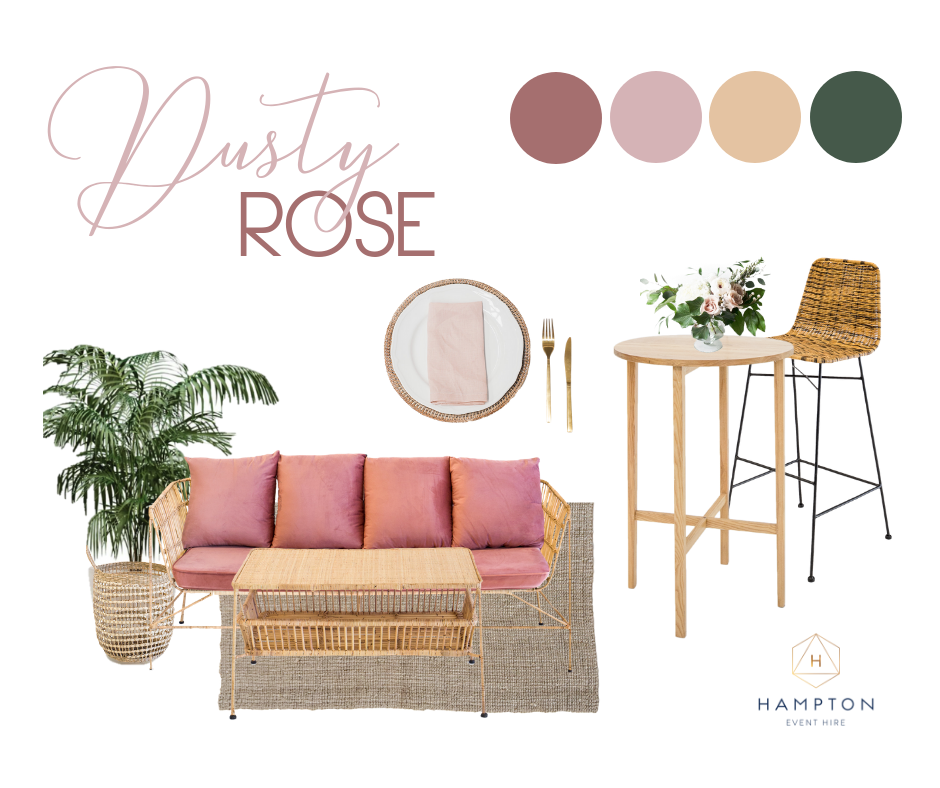 Dusty Rose Wedding Styling Ideas and Inspiration! Hampton Event Hire, wedding and event hire on the Gold Coast, Brisbane and Byron Bay
