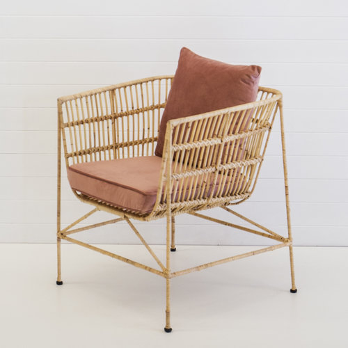 INDIE NATURAL ARMCHAIR WITH DUSTY PINK CUSHION