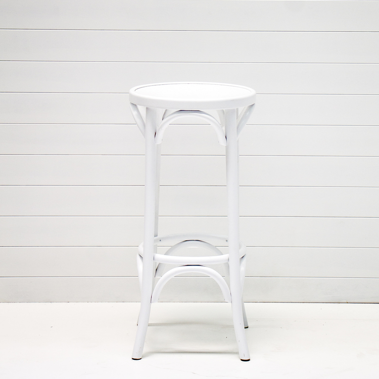 WHITE BENTWOOD STOOL
