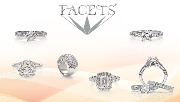 The Facets Bridal Collection has been wholesaling to the jewelry trade for over 50 years. Each engagement ring is accompanied by a perfectly matched wedding band. Using the latest technologies, Facets also offers full custom design of rings.