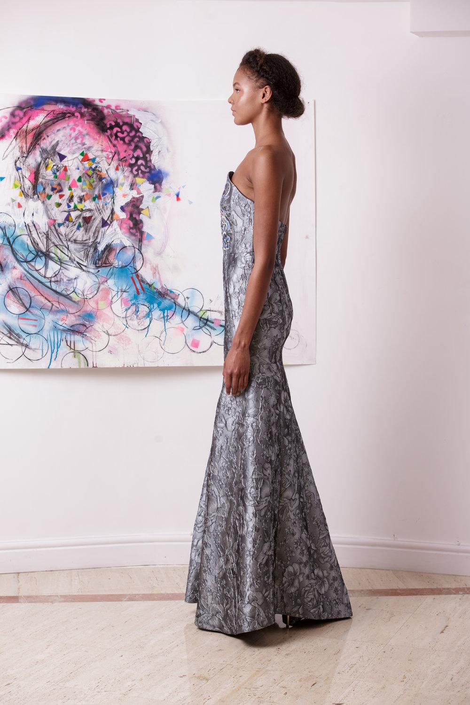 Silver Embroidered Moon Corset Gown — Kolchagov Barba