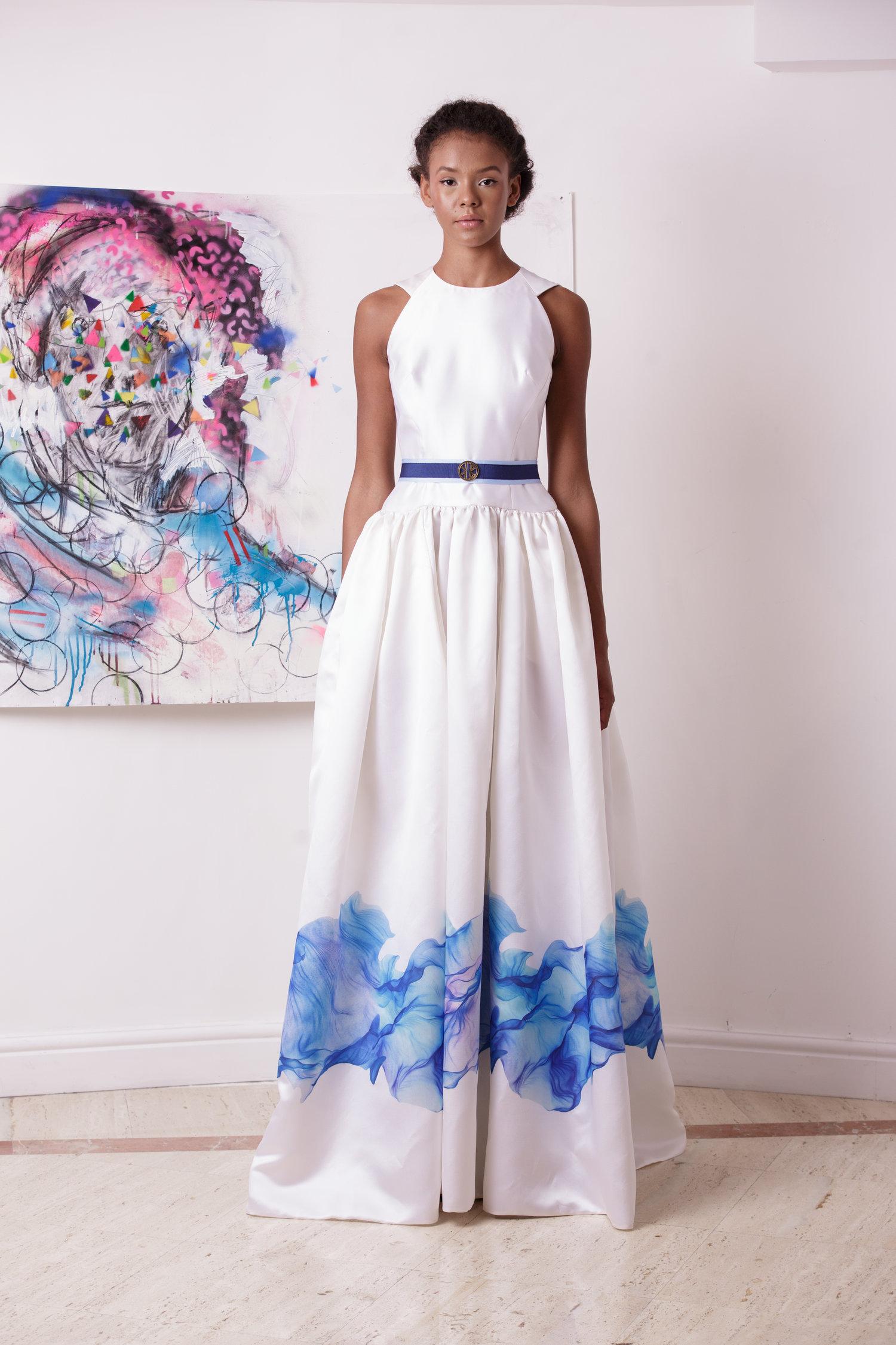 White Silk Wedding Gown With Sky Bordered Skirt — Kolchagov Barba