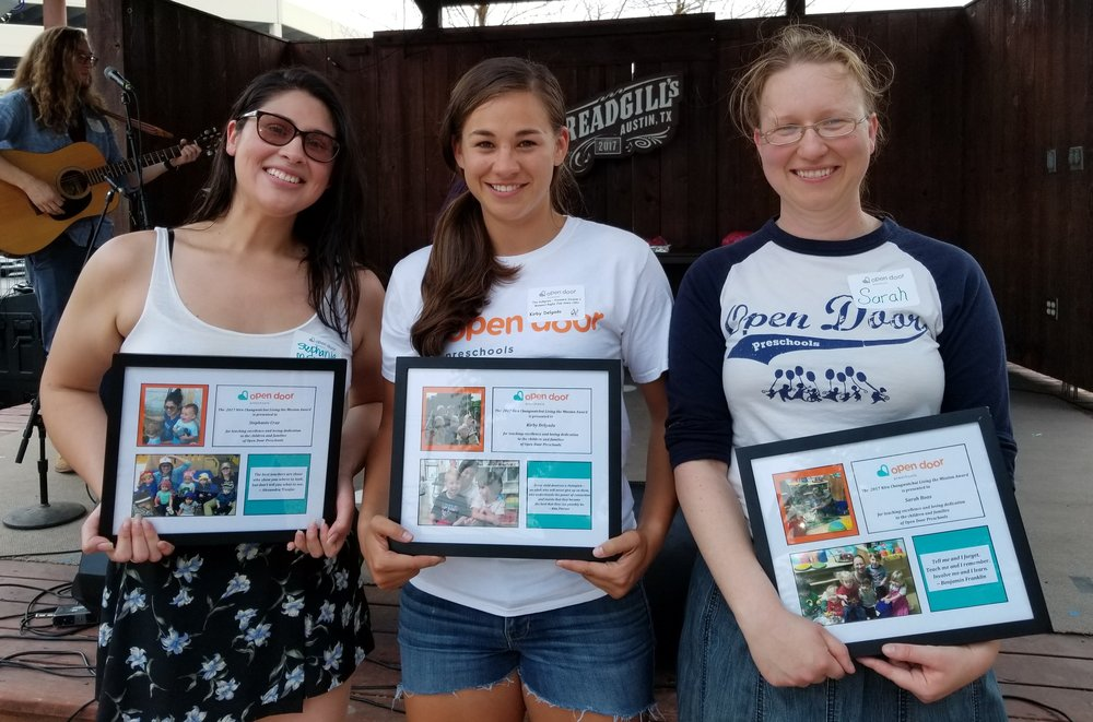 Congratulations to Stephanie Cruz (M Station), Kirby Delgado (Central), and Sarah Boas (East), 2017 recipients of the Nira Changwatchai Living the Mission Award. Stephanie and Kirby have been with Open Door for 4 years, and Sarah has been with Open Door for 7 years!