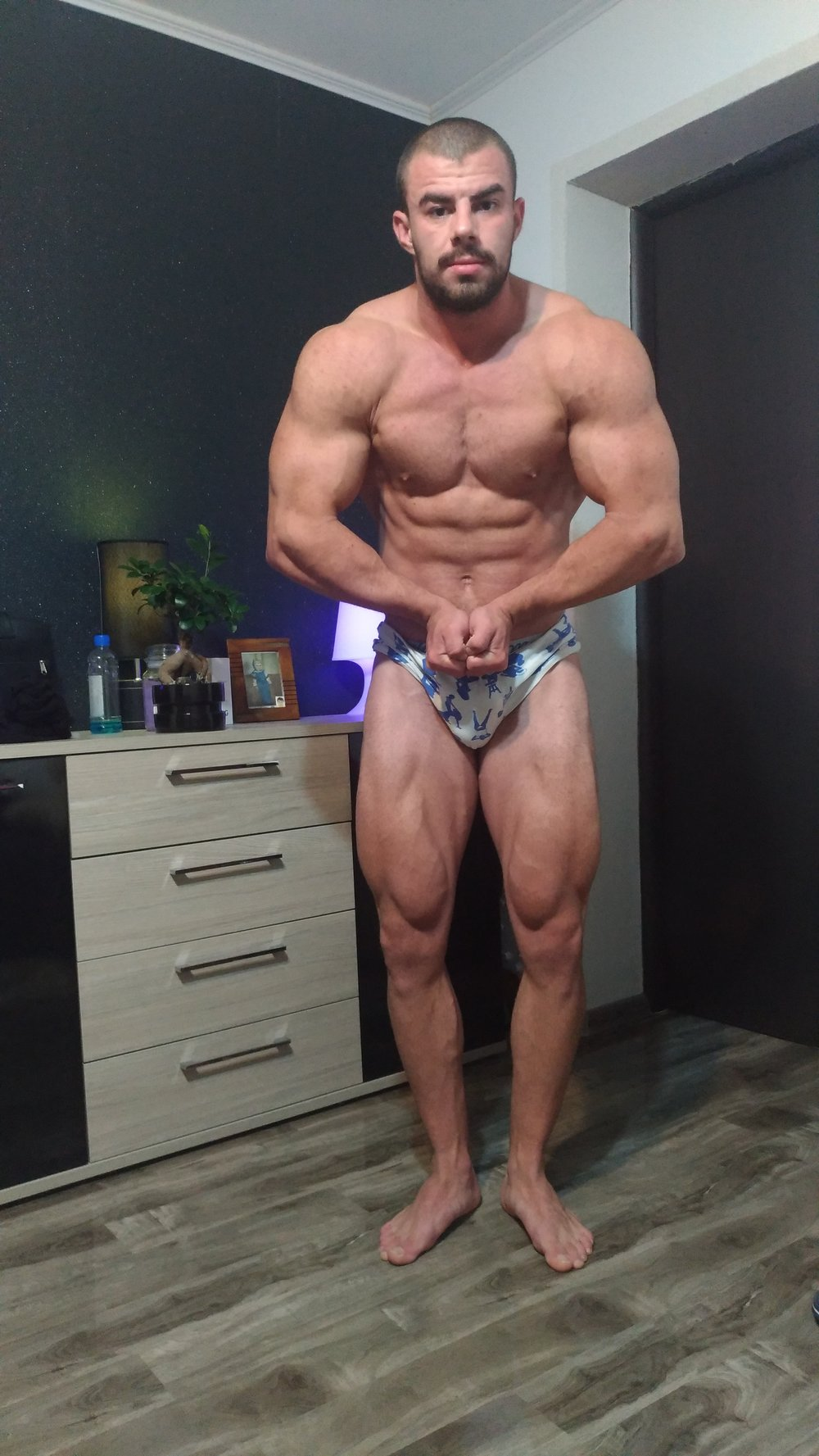 - Competition ready, after several weeks of diet