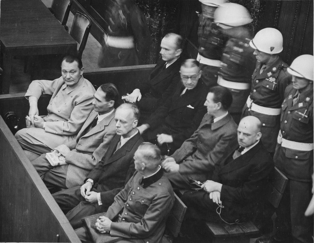 Various defendants sitting at the Palace of Justice, Nuremberg, Germany, in 1946 as part the International Military Tribunal at Nuremberg.
