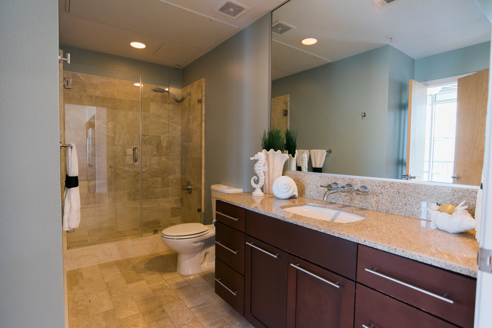 Large spacious bathroom with standup glass shower