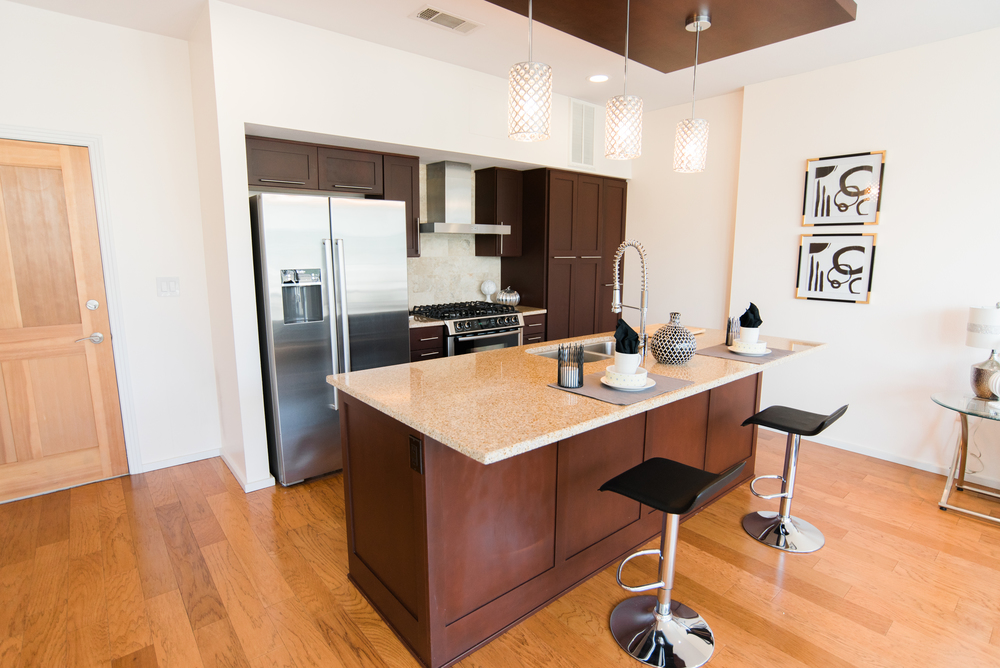 Great granite island with bar seating