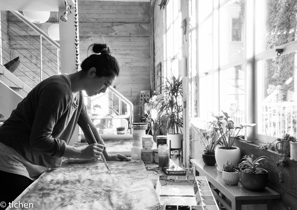 The artist in her studio (aka, the south end of her kitchen).