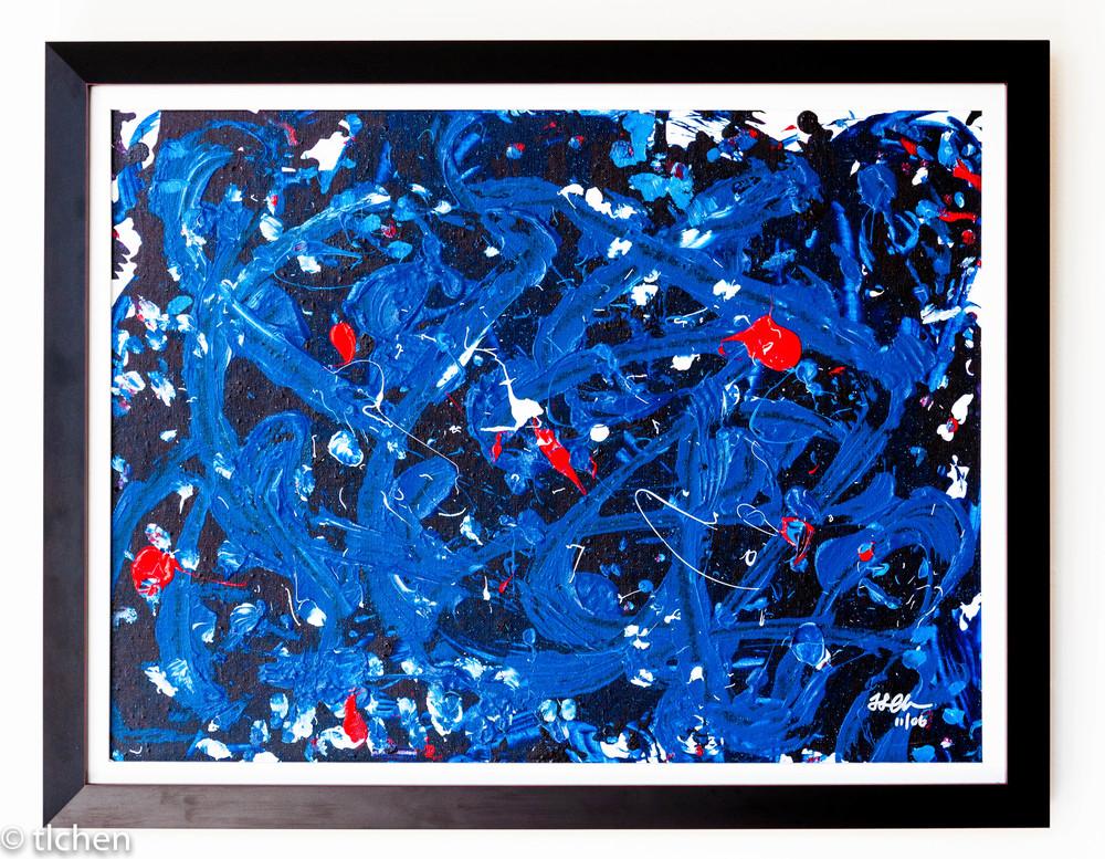 Blue Dragon. Circa 2000. Acrylic on canvas board, framed (frame 2 inches wide).18 x 24.