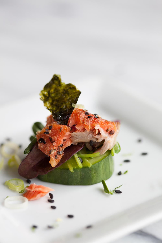 Salmon seaweed cucumber bite