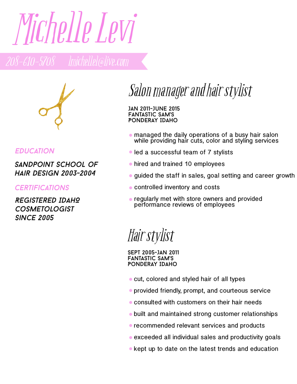 Fun resume design for a hairstylist