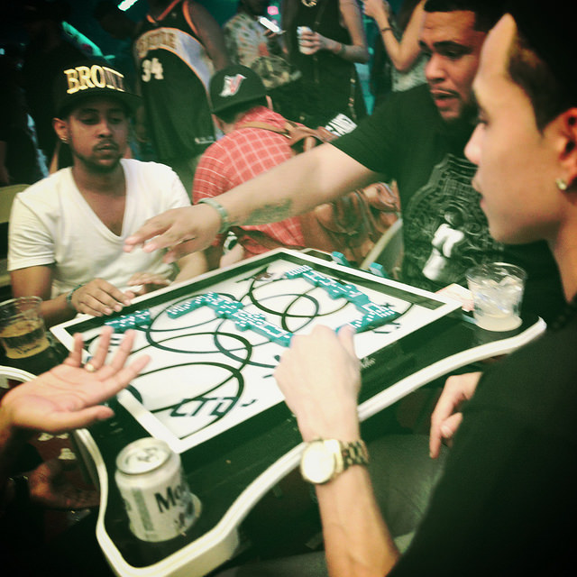 Bien Conectao Capicu Domino Tournament with 40oz Van x LTD x Model. Table art by Eric Haze.