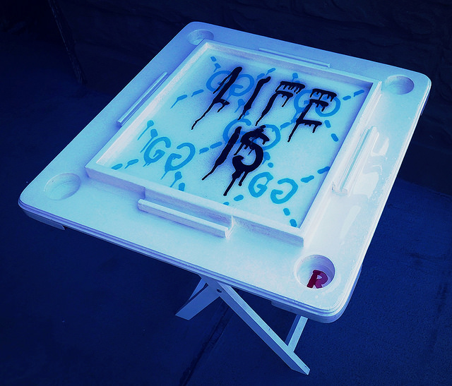 'Life is Gucci' Hand Painted table by the Gucci Ghost