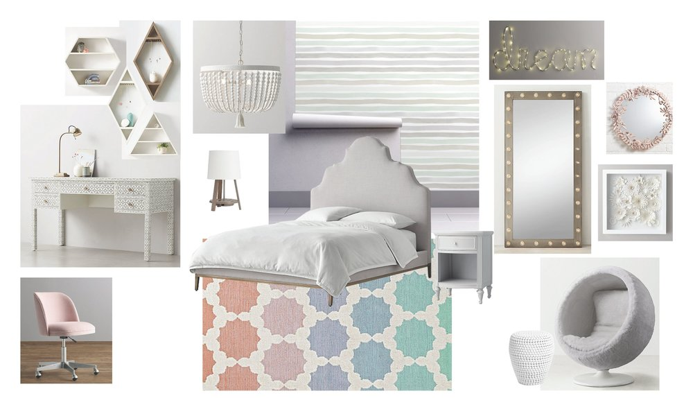 Bedroom FF&E Board 2   Queen of Pastels