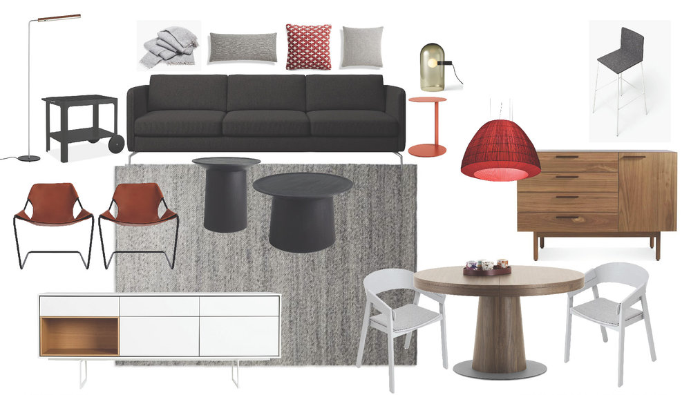 Living and Dining Room FF&E Board 2   Contemporary Masculine