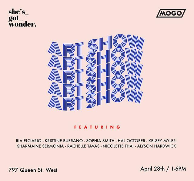 So excited to announce that we are having our very first event on April 28th from 1-6pm in collaboration with Mogo!  Stop by and check out some art by:  Kristine Buerano @localkristine Sophia Smith @sophiaesmith Hal October @hal.october Kelsey Myler @kelseymyler Nicolette Thai @nicolettethai Sharmaine Sermonia @yawnicorn Rachelle Tavas @rachelletavas Alyson Hardwick @alysonhardwick and myself!  Best part? FREE ADMISSION! All you have to do is RSVP (link in bio) and download the MogoMoney app (check your credit score with no charge!) - you'll also get a chance to win a print from one of our featured artists!