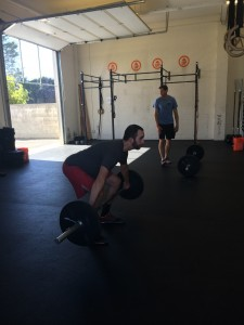 Jeff H, doing a great job of keeping his shoulders in front of the bar in his snatch