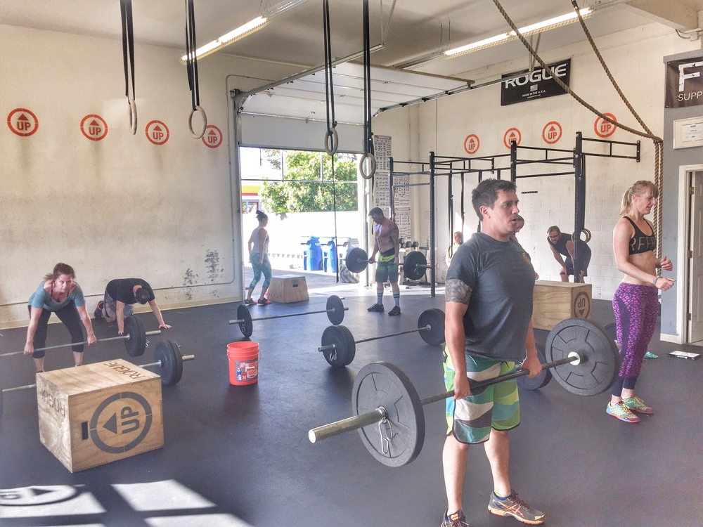 Moving through an Eddie Saturday WOD. Catch your breath, but keep moving.