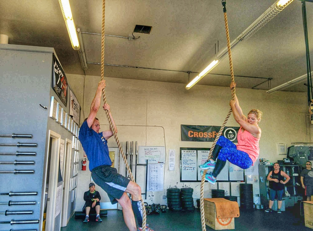 Rope Climbs! Jeff and Heather, gettin' it done.