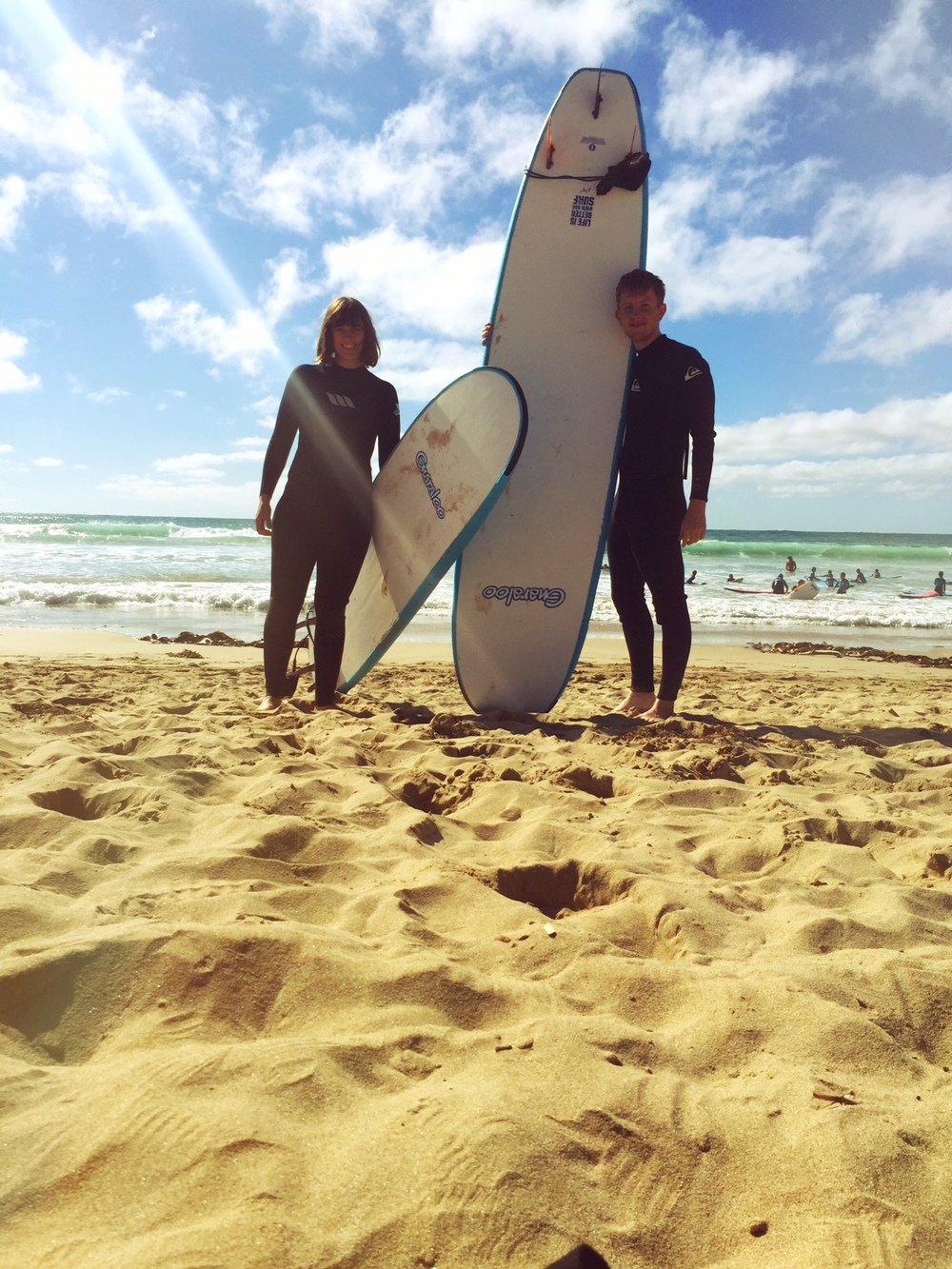 Surf pals.