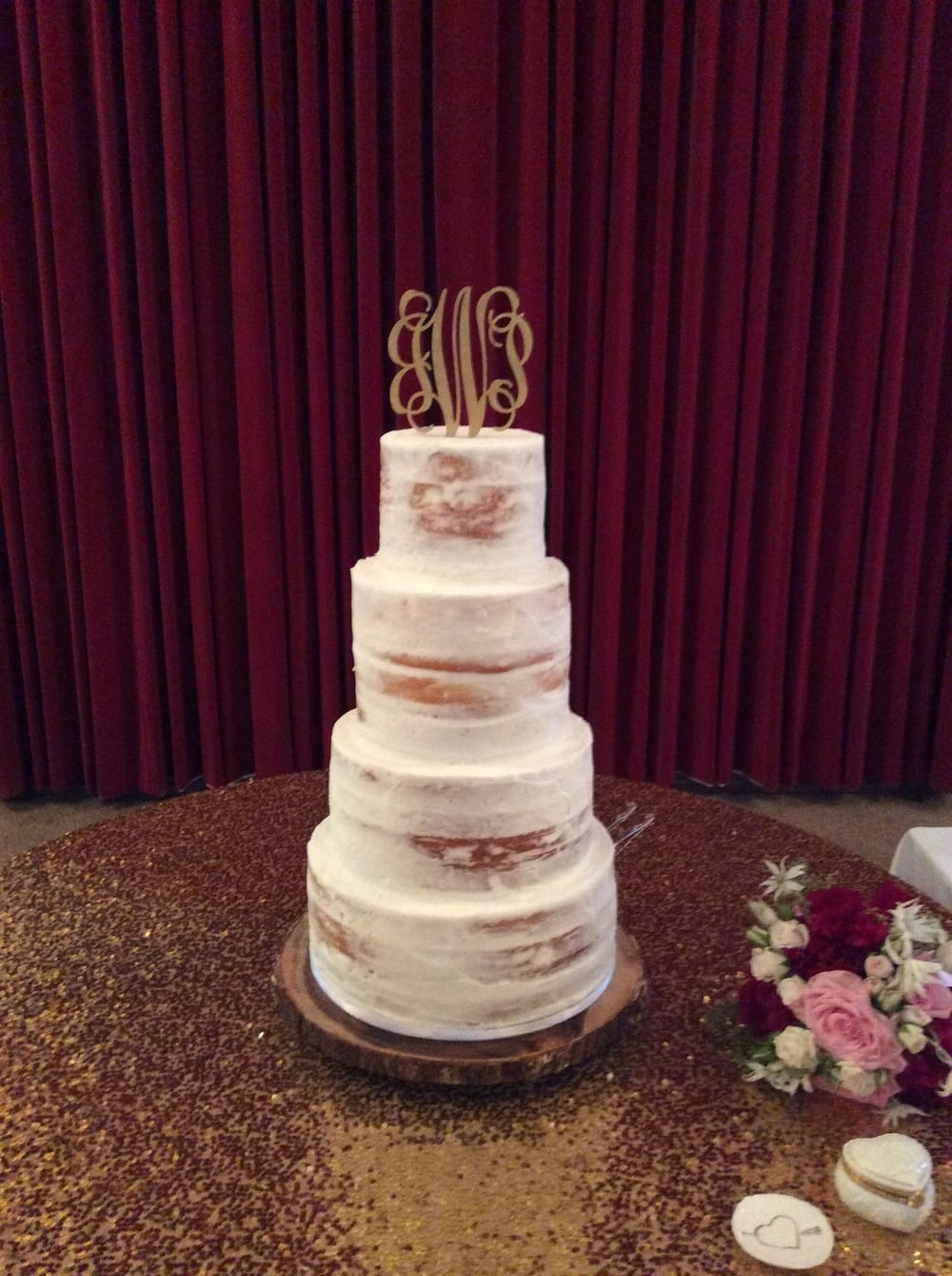 Jordan's Cake contained four delicious tiers of Caramel Apple, Lemon, Traditional White, and Raspberry Crème.