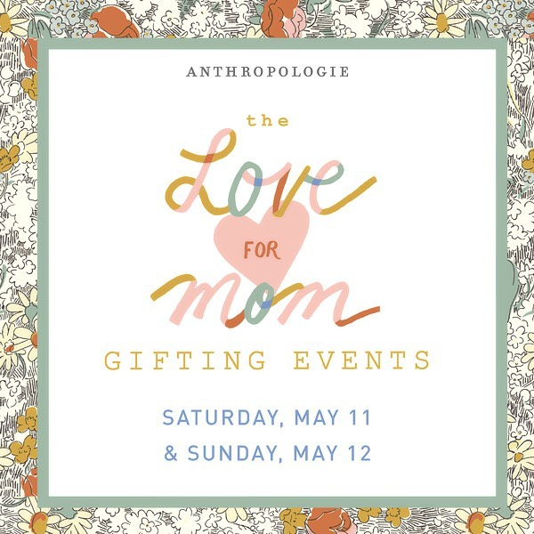 This Saturday I'll be popping up @anthro_dc (950 F Street NW, to be precise). Stop in for last minute gifts for your most treasured mom(s) 💕