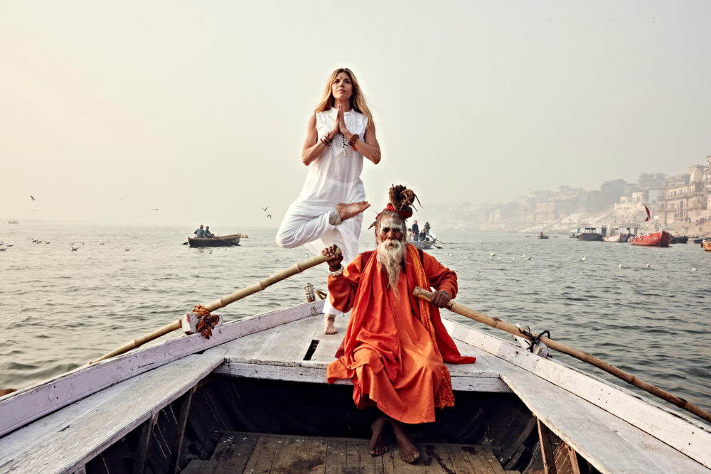 Photo by  Erik Almas  on the Ganges River in Varanasi, India with a  Sadhu  (Baba)