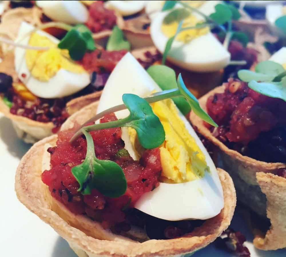 Photo: Chef Oren -  Mini healthy tostadas w/ Brown quinoa, spinach, Chili's, black beans, fire roasted tomato salsa and hard-boiled egg