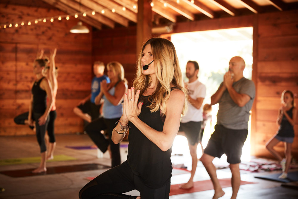 Inspirational Addict wellness influencer Andrea Bogart leads yoga and live music event with Kevin Paris at Cornerstone Sonoma Garden Barn