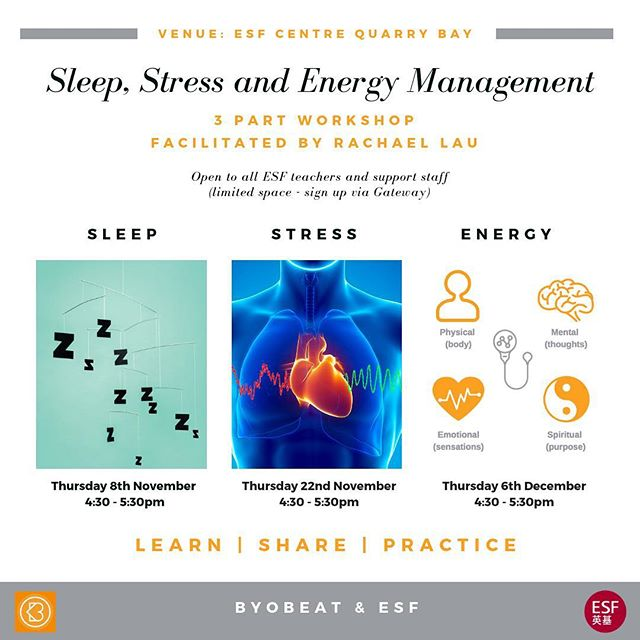 Excited to announce my next project with English Schools Foundation (ESF) 🙌 ___ During this 3 part workshop, we will explore components of our health and well-being that affect our 3P's (Passion, Performance and Productivity) in the workplace. . . . . . #byobeathk #workshop #stress #sleep #energy #selfmanagement #health #wellbeing #teachersofinstagram #facilitation #project #hongkong #esf #entrepreneur #daretodream