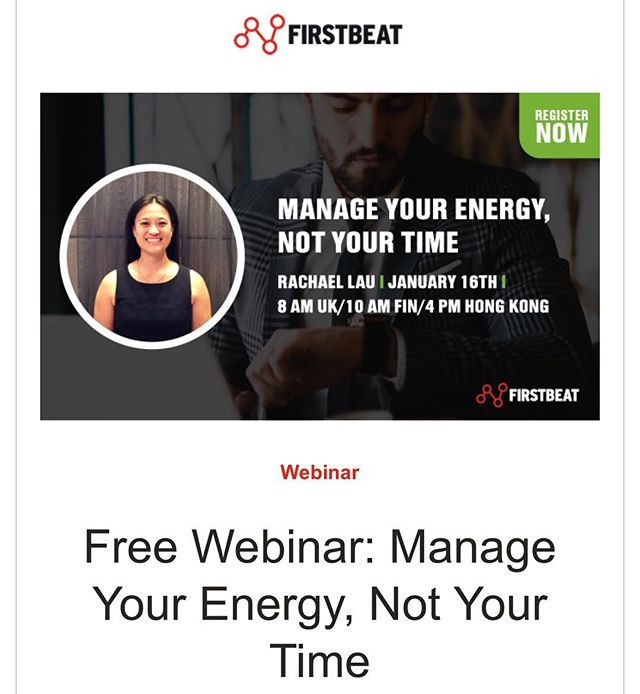 Join me for this free webinar in collaboration with #firstbeat to kick off 2019.  Completing your work to-do list can be a real struggle when you're running low on energy. That's why replenishing energy and increasing self-awareness around how we use our resources in day-to-day life is important.  Join Rachael Lau – Head Performance & Lifestyle Coach at ByoBeat - for a free webinar on January 16 and discover factors that drain and replenish our energy, as well as tips to help you begin 2019 feeling refreshed and energized.  Link in bio to register ✅  #byobeat #firstbeatpartner #hongkong #energymanagement #2019 #stress #wellbeing #doingwhatilove #freewebinar #entrepreneur #newyeargoals #practisebeingwell