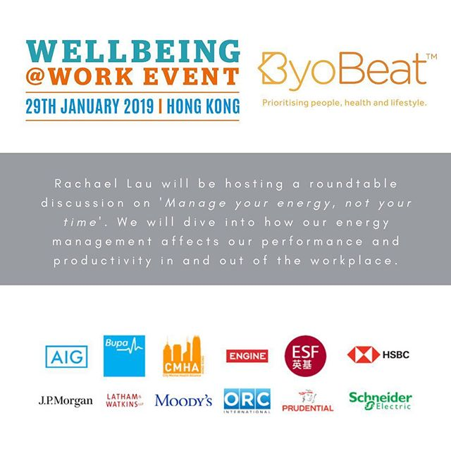 Excited to be hosting a roundtable discussion at The Wellbeing at Work Event arriving in Hong Kong on Tuesday 29th January.  The event provides HR, Reward & Benefit professionals and business leaders with the opportunity to learn from experts and their peers about the latest wellbeing developments and successes that are enhancing individual and organisational performance in companies across the APAC region.  Key Reasons to Attend. . ✅ Learn how multinational organisations are creating workplaces that thrive ✅ Leadership panel discussions informing workplace change ✅ Roundtable discussions for in-depth employee wellbeing expertise ✅ Employer case studies providing the secrets to employee wellbeing success ✅ Invaluable networking with business and HR leaders  Join me and other organisations to learn more about what is both necessary and relevant to create healthier employees.  To members of my network who are interested in attending this event please PM me for a discount code.  #byobeat #wellbeing #mentalhealth #lifestyle #employeewellbeing #events #hongkong #energymanagement #performance #productivity