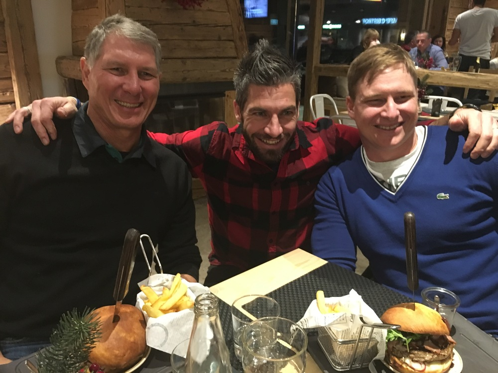 Dad and brother with Alex (middle) , the owner of the only burger restaurant in Livigno, Why Not? All their dishes are made fresh from scratch right there and their menu even features a Cape Town burger. (Alex loves South Africa, and got the idea for the restaurant from a South African friend)