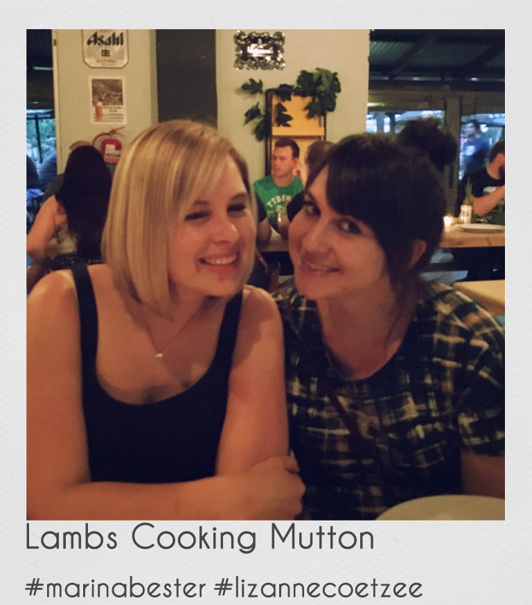 "Lambs cooking Mutton: Marina and Lizanne    Fellow foodie friends, Marina and Lizanne are ""Lambs Cooking Mutton""! Armed with their blog posts and a frequent feature in the ""Weg and Go"" magazines they are on a mission to make cooking with lamb inspiring and creative but also less intimidating for the modern young lady or gentleman! They will also be travelling across SA to bring you news and reviews on South African meat festivals and restaurants where winning lamb and mutton dishes are served.   Although Lizanne is a designer by day, and Marina a MSc Nutrition student on the side, their roles are ironically switched when it comes to cooking with lamb. Lizanne is always looking for ways to cook and eat healthy and will also keep you up to date on how to keep your lamb dishes as healthy as possible. Marina on the other hand loves creating absolute indulgent and creative lamb dishes that have no mercy on your diet. But between the two of them they will provide you with lamb dishes for every occasion!"
